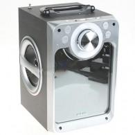 Колонка портативная KTS-822ch (Bluetooth/USB /microSD/FM/караоке) серебро