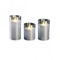 Комплект свечей Фаzа CL7-SET3-sr 3 восковые LED-свечи в стекл. корпусе серебр.