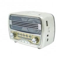 Радиоприемник М-166ВТ (Bluetooth/USB/microSD/Fm/AUX/акб.18650) серебро Meier