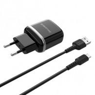 СЗУ Borofone + кабель microUSB (2.4A) (BA25A)