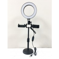 Кольцевая лампа 16см (2 держателя, штатив-подставка)