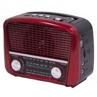Радиоприемник HN-289 (Fm/USB/microSD/акб/фонарь/PowerBank) красный Haoning