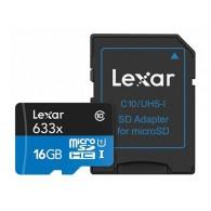 Карта памяти microSDHC Lexar 16Gb Class 10 UHS-1 633x (95 Mb/s) с адапт