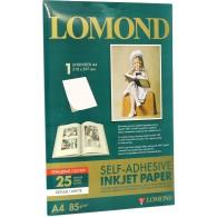 Бумага Lomond глянцевая A4, 85г самоклеящаяся неделённая /25л