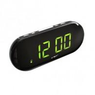 Часы настольные VST-717-2 зел.цифры, чер.корпус (дата, темп., будильник,4*ААА)