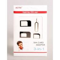 Адаптер для SIM-карты 3 в 1 (nano\micro\mini) черный