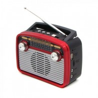 Радиоприемник HN-281 (Fm/USB/microSD/акб/фонарь/PowerBank) красный Haoning