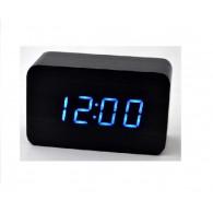 Часы настольные VST-863-5 син.цифры, чер.корпус (дата, темп., будильник,4*ААА)