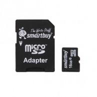 Карта памяти microSDHC SmartBuy 16Gb Class 10 с адаптером