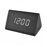 Часы настольные VST-864-6 бел.цифры, чер.корпус (дата, темп., будильник,4*ААА)