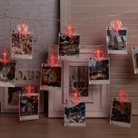 """Гирлянда """"Прищепки-сердце"""" 20 светод.,крас. ,4,5м, прозр.шнур (4445736)"""