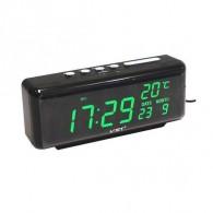 Часы электронные 762W (220V+2*ААА, зел.цифры) (время, дата, темп)