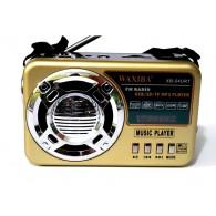 Радиоприемник XB-54URT (USB/SD/microSD/Fm/AUX/фонарь/акб.18650)золото Waxiba