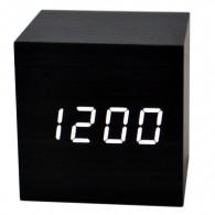 Часы настольные VST-869-6 бел.цифры, чер.корпус (дата, темп.,будильник,3*ААА)