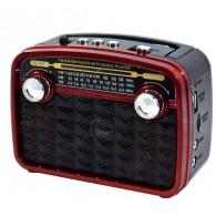 Радиоприемник HN-283 (Fm/USB/microSD/акб/фонарь/PowerBank) красный Haoning