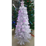 Елка 1,5м (фиол. светод.,RGB кисточки) белый цвет хвои