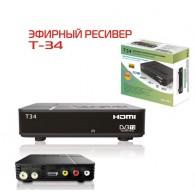 Ресивер цифровой DVB-T2 HD Эфир HD Т-34 пластик, дисплей