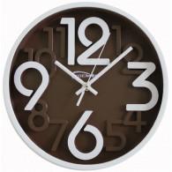 Часы настенные круглые корич\бел циферблат 7645 (1АА) малые