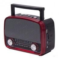 Радиоприемник HN-291UAT (Fm/USB/microSD/акб/фонарь/PowerBank) красный Haoning