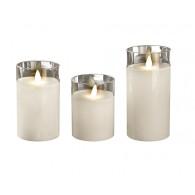 Комплект свечей Фаzа CL7-SET3-wh 3 восковые LED-свечи в стекл. корпусе белые