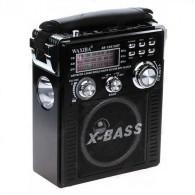 Радиоприемник XB-1051 (USB/SD/FM/акб/4*R20/фонарь) черный Waxiba