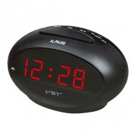 Часы настольные VST-711-1 крас.цифры, чер.корпус (дата, темп., будильник,4*ААА)