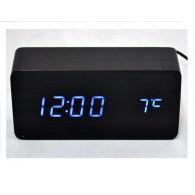 Часы настольные VST-862-5 син.цифры, чер.корпус (дата, темп., будильник,4*ААА)