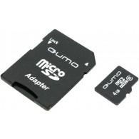 Карта памяти microSDHC Qumo 4GB Class 6 с адаптером