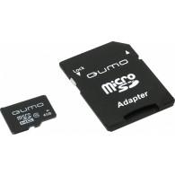 Карта памяти microSDHC Qumo 4GB Class10 с адаптером