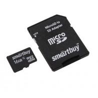 Карта памяти microSDHC SmartBuy 16Gb Class 6 с адаптером