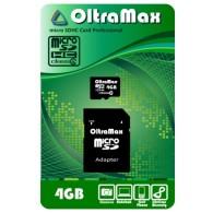 Карта памяти microSDHC OltraMax 4GB Class 4 с адаптером SD