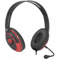 Наушники Defender Phoenix 875 с микрофоном, черный+красный 1,8м (63875)