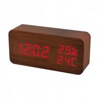 """Часы электронные Perfeo """"Wood"""" крас.цифры, кор.корпус (темп.,влаж, буд., 3*ААА)"""
