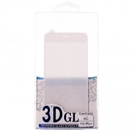 Защитное стекло Activ 3D для iPhone 6 белое, прозр. силик. окантовка