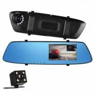 Видеорегистратор Mega L1001-1 (зеркало,2 камеры,120\90°,microSD до 32Gb)