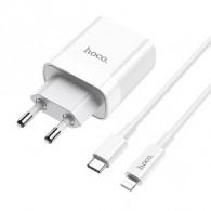 СЗУ Hoco (гнездо USB 3.0+ гнездо Type-C)+кабель Type-C-lightning (3A) C80A