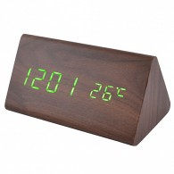Часы настольные VST-861-4 зел.цифры, корич.корпус (дата,темп., будильник,4*ААА)