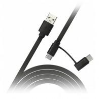 Кабель USB- microUSB/Type-C Smartbuy (2 в 1) 1м черный (iK-412)