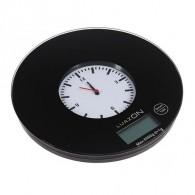 Весы кухонные до 5кг, круглые черные с часами (3549068)