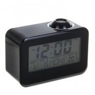 Часы проекционные (дата, будильник, термометр) черные (1048619)