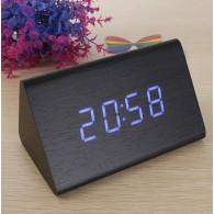Часы настольные VST-861-5 син.цифры, чер.корпус (дата,темп., будильник,4*ААА)