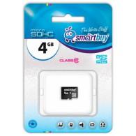 Карта памяти microSDHC SmartBuy 4Gb Class 10 без адаптеров