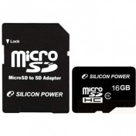 Карта памяти microSDHC Silicon Power 16Gb Class 10 UHS-1 с адаптером