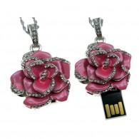 Флэш-диск 8GB Usb2.0 Роза со стразами розовая (подвеска)