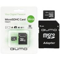 Карта памяти microSDHC Qumo 16GB Class 4 с адаптером