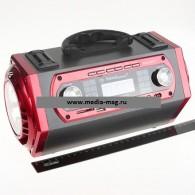 Радиоприемник KN-618RTch (USB\SD\Fm\фонарь\караоке) красный