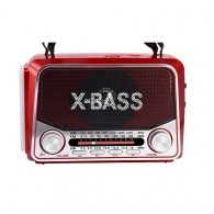 Радиоприемник VX-311 (USB/microSD/Fm/AUX/фонарь/акб/2*R20) красный VXR