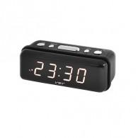 Часы настольные VST-738-6 бел.цифры, чер.корпус (дата, темп., будильник,4*ААА)