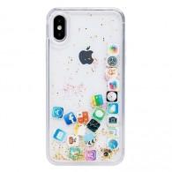 Чехол для iPhone X\XS силиконовый прозрачный с иконками приложений