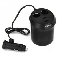 Разветвитель в авто на 2 устройства+2 USB в подстаканник (WF-186-1) (118894)